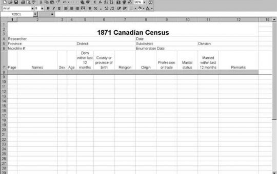 1871 Canadian Census Template