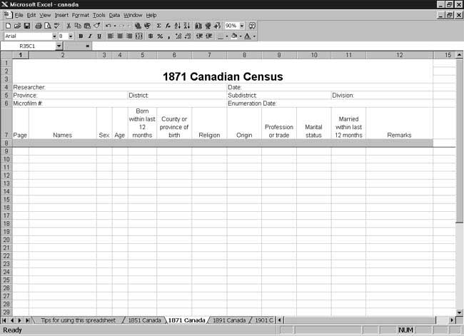 1871 Canadian Census Spreadsheet