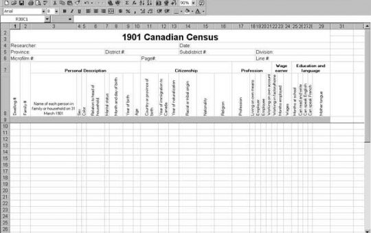1901 Canadian Census Template