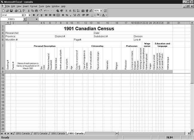 CensusTools: 1901 Canadian Census Spreadsheet