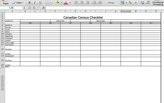 Canadian Census Checklist
