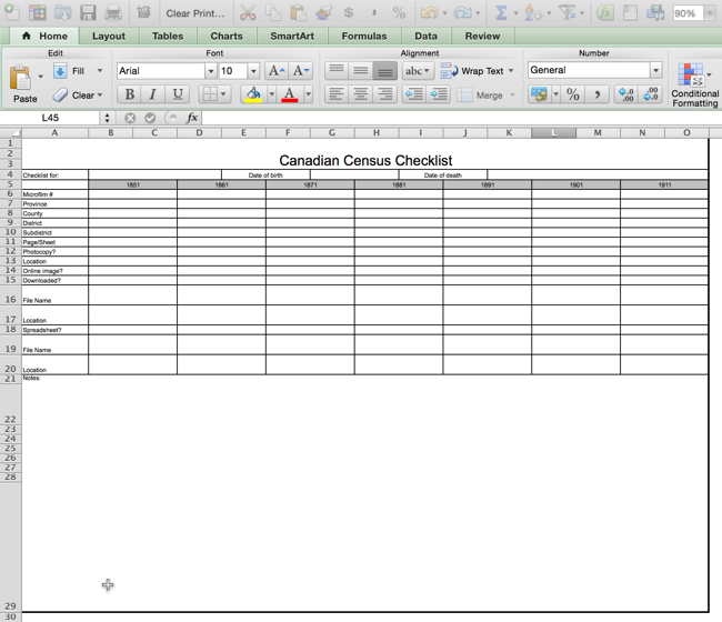 screenshot of Canadian Census Checklist spreadsheet