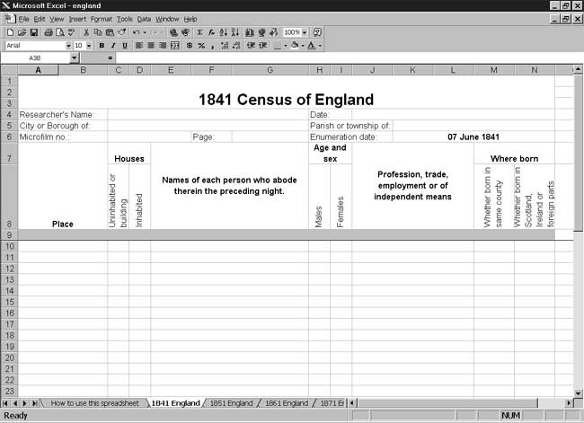 CensusTools 1841 England Census Template