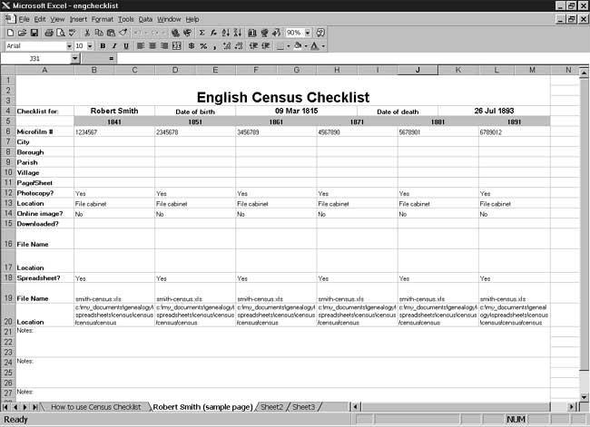 CensusTools English Census Checklist
