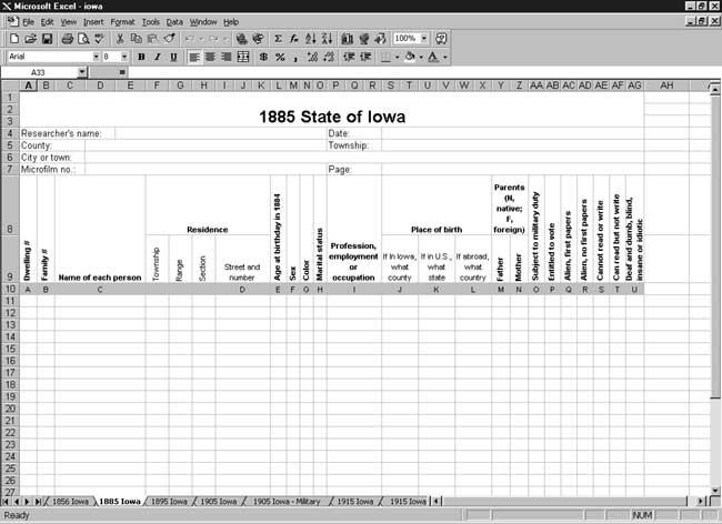 CensusTools 1885 Iowa Census Template