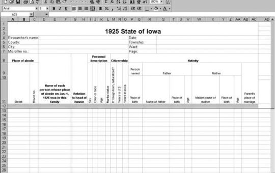 1925 Iowa Census Template