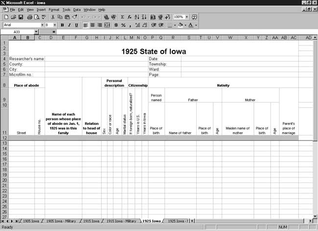 CensusTools 1925 Iowa Census Template