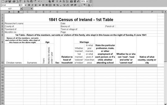1841 Ireland Census Template