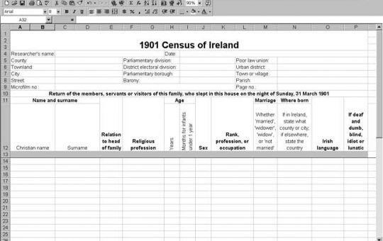 1901 Ireland Census Template