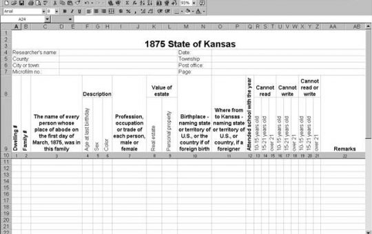 1875 Kansas Census Template