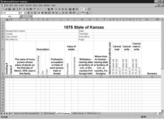 CensusTools 1875 Kansas Census Template