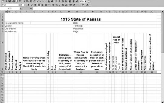 1915 Kansas Census Template