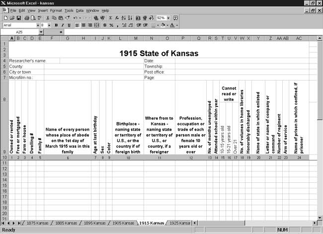 CensusTools 1915 Kansas Census Template