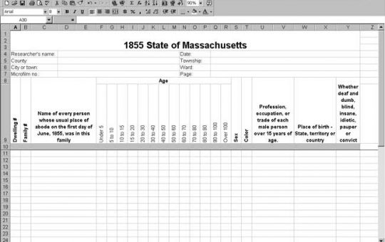 1855 Massachusetts Census Template