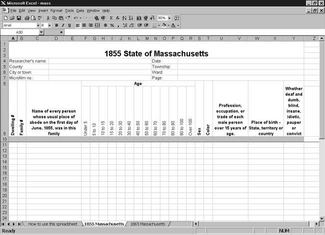 CensusTools 1855 Massachusetts Census Template