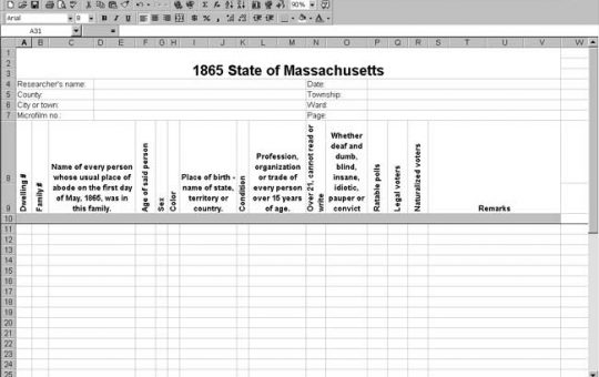 1865 Massachusetts Census Template