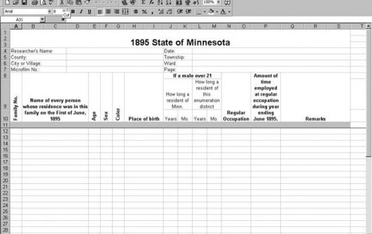 1895 Minnesota Census Template