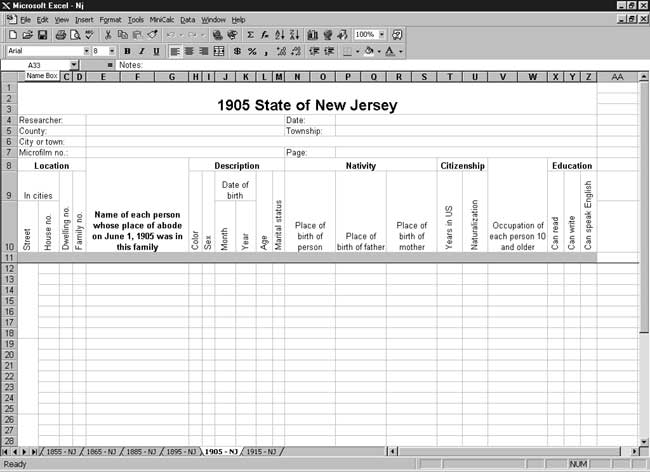 CensusTools 1905 New Jersey Census Template