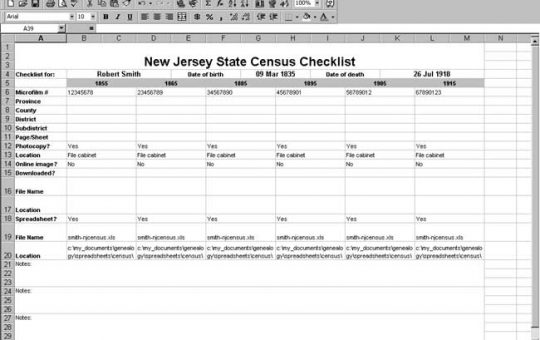 New Jersey Census Checklist