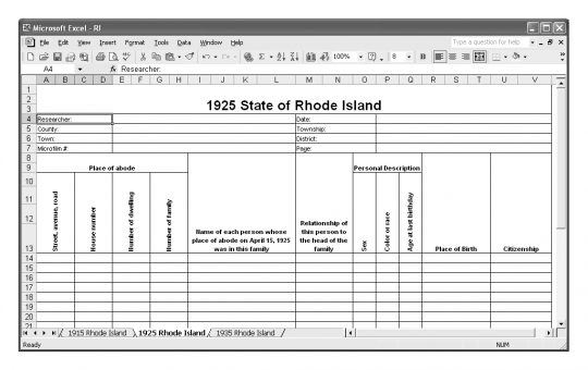 1925 Rhode Island Census Template