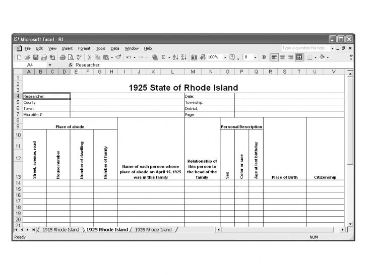 CensusTools 1925 Rhode Island Census Template