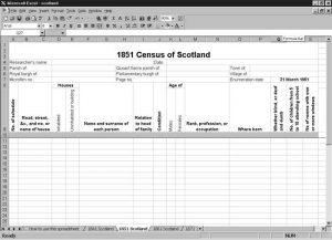 CensusTools 1851 Scotland Census Template screenshot