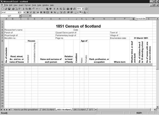 CensusTools 1851 Scotland Census Template