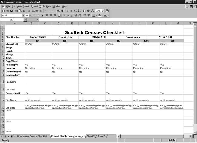 CensusTools Scottish Census Checklist
