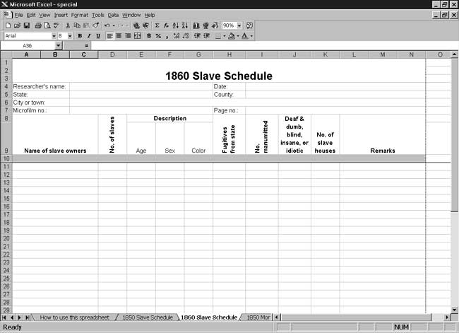 CensusTools US 1860 Slave Schedule Template