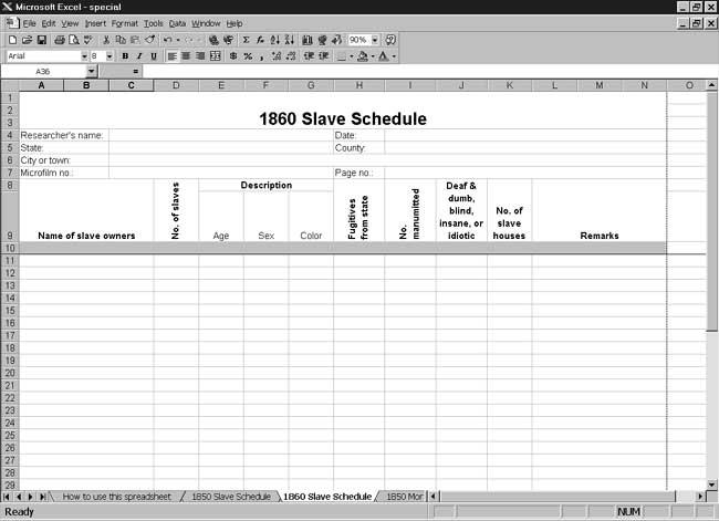 CensusTools US 1860 Slave Schedule Template