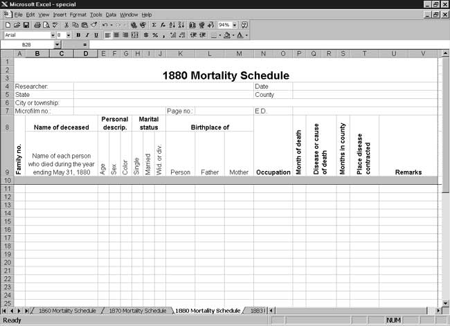 CensusTools US 1880 Mortality Schedule Template