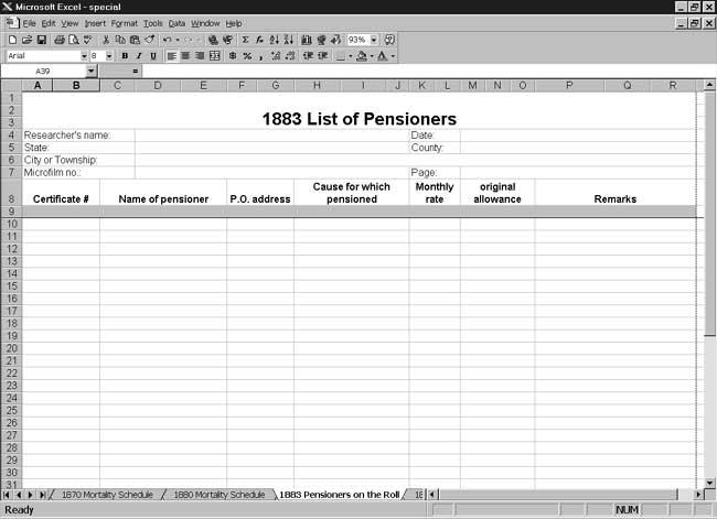 CensusTools US 1883 List of Pensioners Template