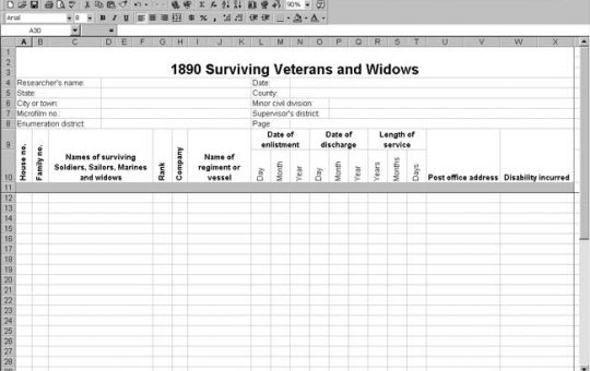 1890 US Surviving Veterans and Widows Schedule Template