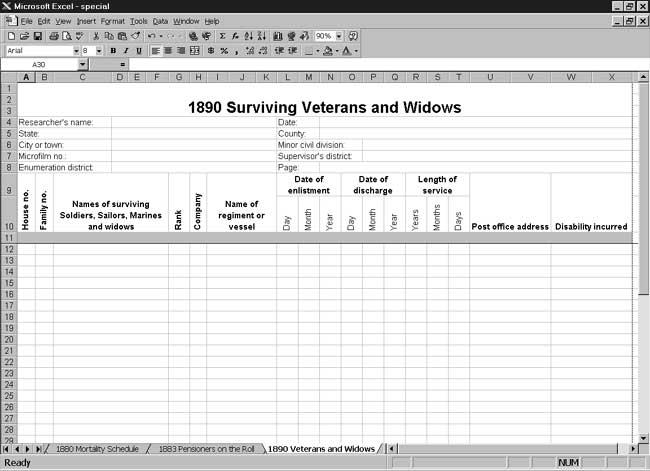 CensusTools US 1890 Surviving Veterans and Widows Schedule Template