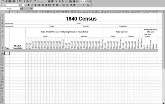 1840 U.S. Census Template