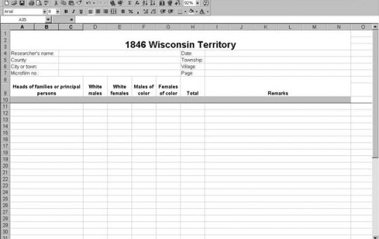 1846 Wisconsin Territory Census Template