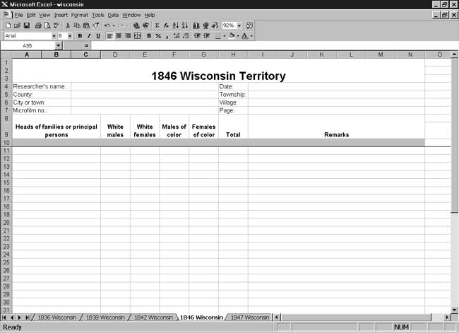 CensusTools 1846 Wisconsin Territory Census Template