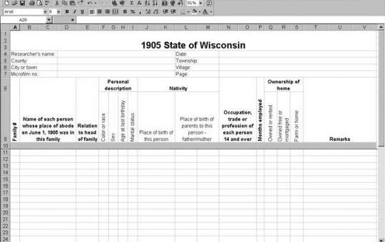 1905 Wisconsin Census Template