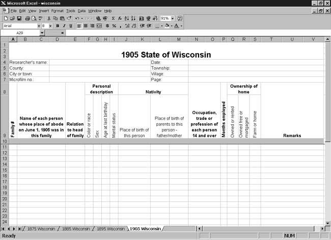 CensusTools 1905 Wisconsin Census Template
